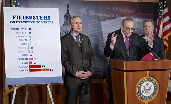 Harry Reid, Chuck Schumer, and Dick Durbin on the unprecedented use of filibusters under President Obama (J. Scott Applewhite/Associated Press) via The Atlantic